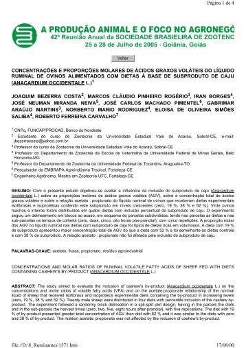 CONCENTRAÇÕES E PROPORÇÕES MOLARES DE ÁCIDOS ...