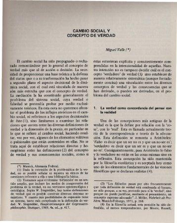 CAMBIO SOCIAL Y CONCEPTO DE VERDAD Miguel Valle (*)