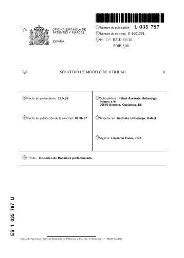 1034346 uu oficina espa ola de patentes y marcas for Oficina de patentes y marcas europea