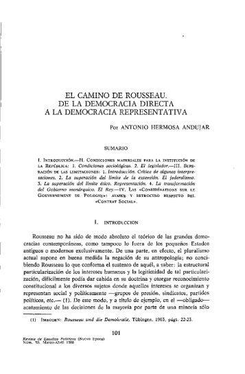 El camino de Rousseau. De la democracia directa a la democracia ...