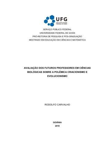 avaliação dos futuros professores em ciências ... - PRPPG - UFG