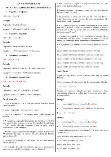 LÓGICA PROPOSICIONAL AULA 3 - NEGAÇÃO DE PROPOSIÇÃO ...