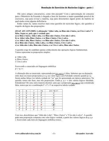 Resolução de Exercícios de Raciocino Lógico ... - Editora Ferreira