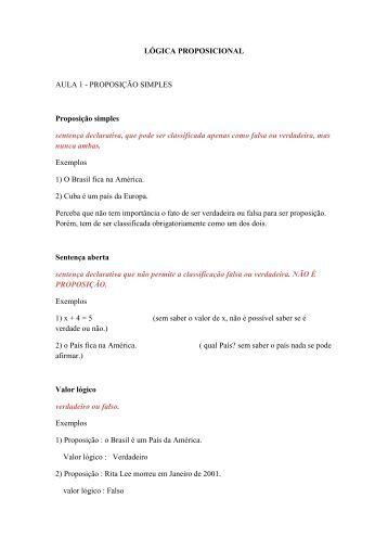 LÓGICA PROPOSICIONAL AULA 1 - PROPOSIÇÃO SIMPLES ...