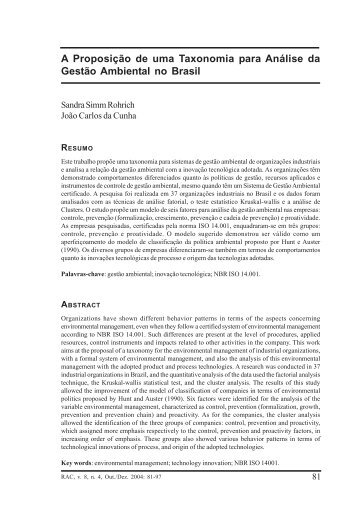 A Proposição de uma Taxonomia para Análise da Gestão ... - UFTM