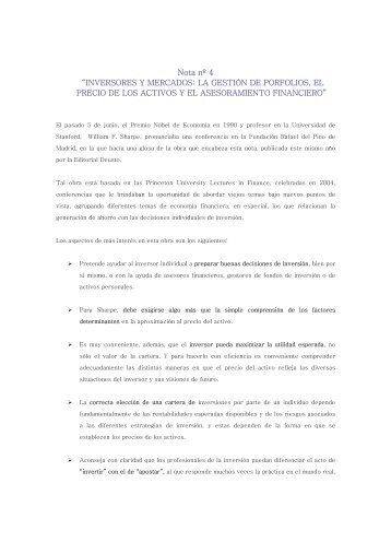"""Nota nº 4 """"INVERSORES Y MERCADOS: LA GESTIÓN DE ... - UNED"""