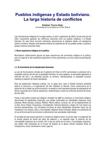 Pueblos indígenas y Estado boliviano. La larga historia de ... - Cebem