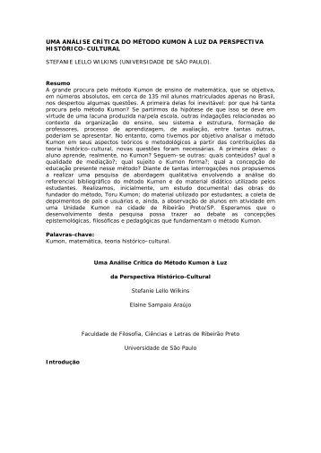 uma análise crítica do método kumon à luz da perspectiva