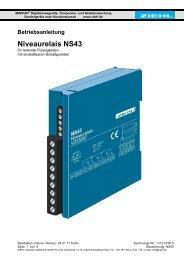 Niveaurelais NS43 - Ziehl industrie-elektronik GmbH + Co KG