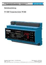 Betriebsanleitung Pt 1000 Temperaturrelais TR 600 - Ziehl industrie ...