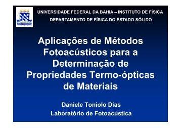 Aplicações de Métodos Fotoacústicos para a determinação de ...