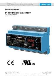 Operating manual Pt 100 thermostat TR600 - ziehl.de