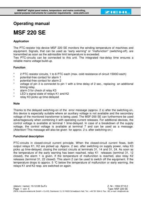 Operating manual MSF 220 SE - ziehl de