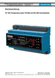 Betriebsanleitung Pt 100 Temperaturrelais TR 600 mit RS ... - ziehl.de