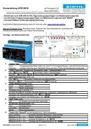 Kurzanleitung UFR1001E - Ziehl industrie-elektronik GmbH + Co KG