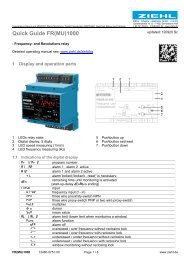 Quick Guide FR(MU)1000 - Ziehl industrie-elektronik GmbH + Co KG