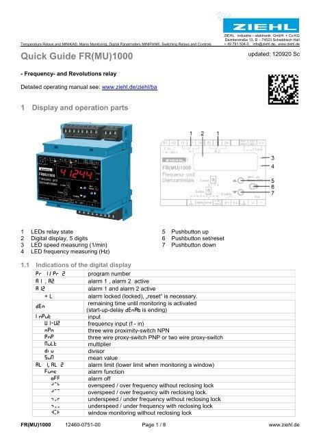 Quick Guide FR(MU)1000 - Ziehl industrie-elektronik GmbH + Co KG