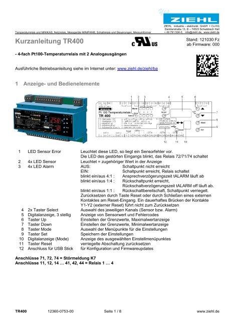 Kurzanleitung TR400 - Ziehl industrie-elektronik GmbH + Co KG