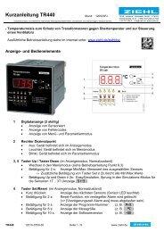 Kurzanleitung TR440 - Ziehl industrie-elektronik GmbH + Co KG