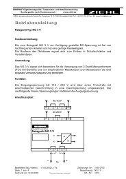 Betriebsanleitung - Ziehl industrie-elektronik GmbH + Co KG