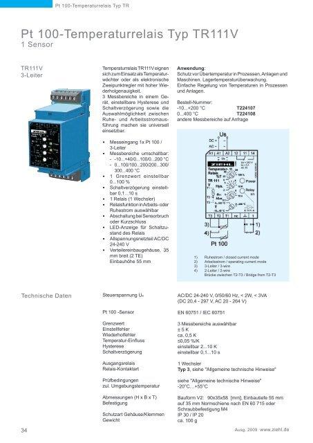 Pt 100-Temperaturrelais Typ TR - Ziehl industrie-elektronik GmbH + ...