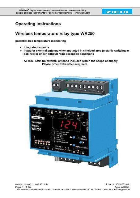 Operating instructions Wireless temperature relay type WR250