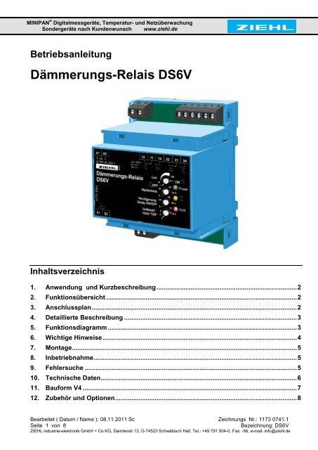 Dämmerungs-Relais DS6V - Ziehl industrie-elektronik GmbH + Co KG