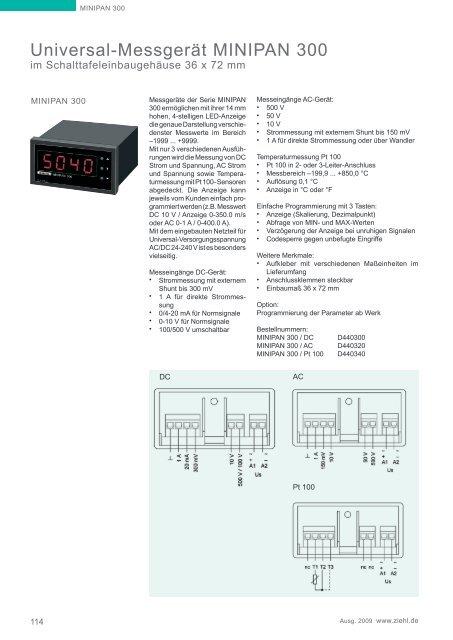 Universal-Messgerät MINIPAN 300 - ziehl.de