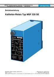 Kaltleiter-Relais Typ MSF 220 SE - Ziehl industrie-elektronik GmbH ...