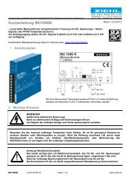 Kurzanleitung MU1000K - Ziehl industrie-elektronik GmbH + Co KG