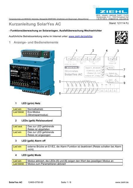 Kurzanleitung SolarYes AC - Ziehl industrie-elektronik GmbH + Co KG