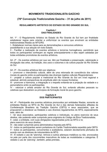 Regulamento de Artístico do RS - Movimento Tradicionalista Gaúcho