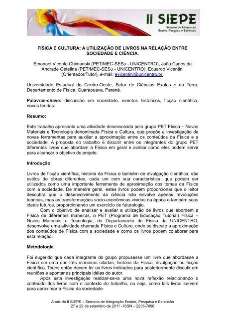FÍSICA E CULTURA - Universidade Estadual do Centro-Oeste