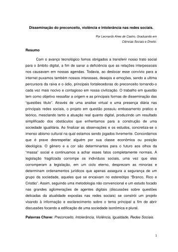 Leonardo Aires de Castro Disseminação do preconceito, violência