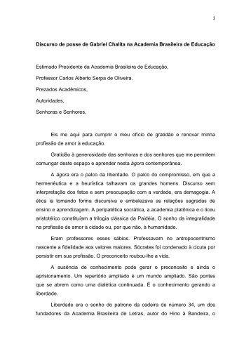 Discurso de posse de Gabriel Chalita na ... - Floriano Pesaro