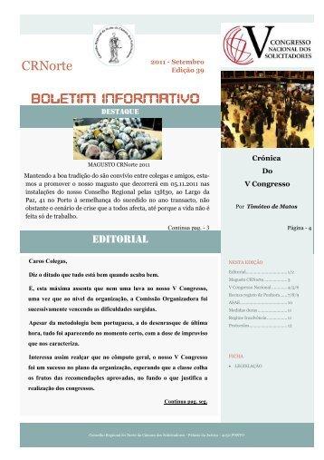 Boletim nº 39 - conselho regional norte - Câmara dos Solicitadores
