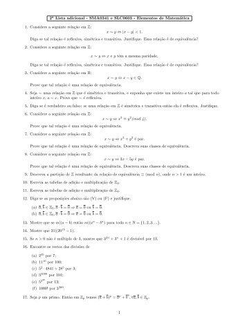 Lista de revisão 2 - ICMC - USP