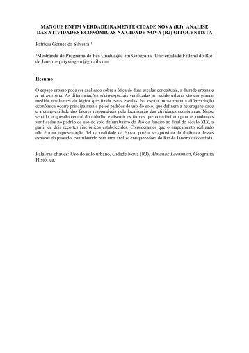 (RJ): ANÁLISE DAS ATIVIDADES ECONÔMICAS NA ... - XII Simpurb