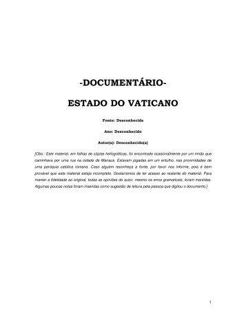 -DOCUMENTÁRIO- ESTADO DO VATICANO - The Baptist Link
