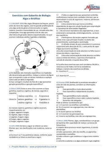 Algas e Briófitas - Projeto Medicina