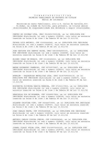 C O M A R C A D E C U R I T I B A PRIMEIRO ... - Gazeta do Povo