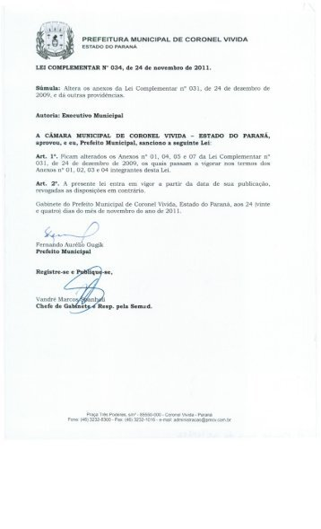 Lei Complementar 034 de 24.12.2011 - Prefeitura Municipal de ...