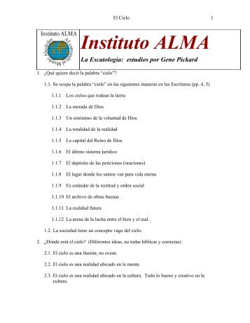 Instituto ALMA La Escatología: estudios por Gene Pickard