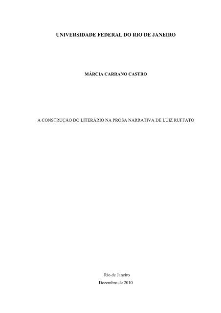 A Construção Do Literário Na Prosa Narrativa De Luiz Ruffato