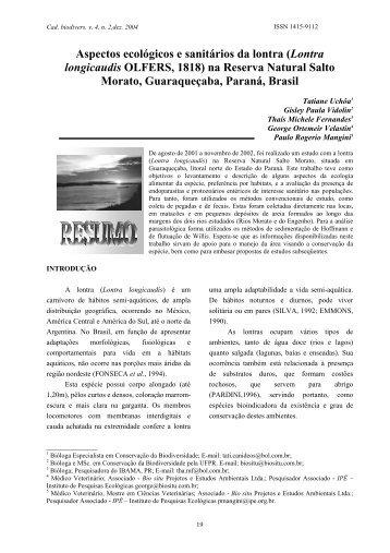Aspectos ecológicos e sanitários da lontra - Instituto Ambiental do ...