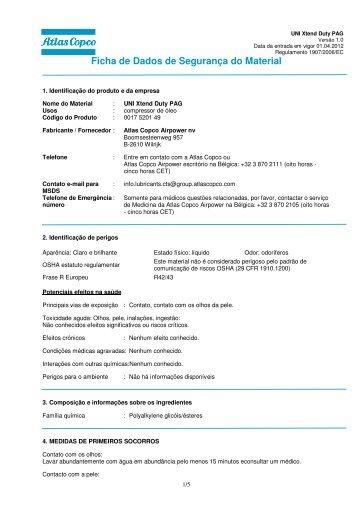 Ficha de Dados de Segurança do Material - Atlas Copco