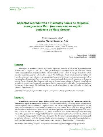 Aspectos reprodutivos e visitantes florais de Duguetia ... - Biotemas