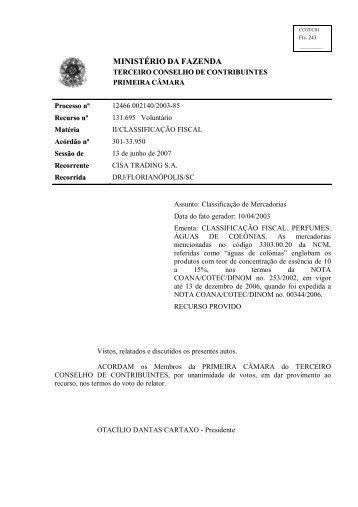 MINISTÉRIO DA FAZENDA - Conselhos de Contribuintes