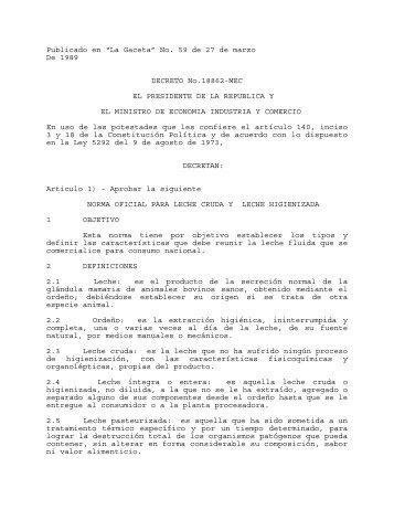 Norma oficial para leche cruda y leche higienizada - Ministerio de ...
