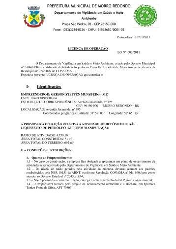 Licença de Operação n° 03 - Morro Redondo